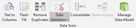 Data validation ribbon