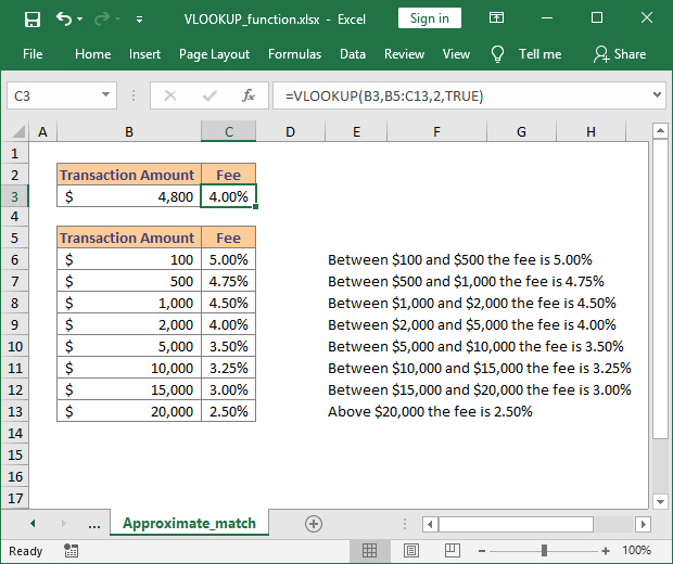 How to use VLOOKUP with approximate match