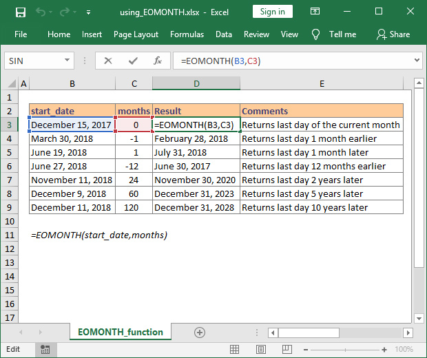 How to use EOMONTH function in Excel