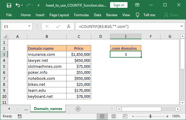 How to use COUNTIF in Excel with wildcards