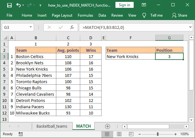 How to use MATCH function in Excel