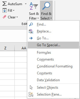 Go To Special in Excel