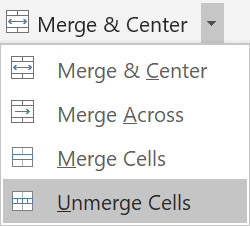 To split the current cell into multiple cells click Merge & Center and select Unmerge Cells.