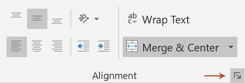 Select the Alignment menu by clicking the ower right arrow