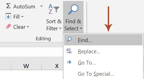 Open Find dialog box in Excel.