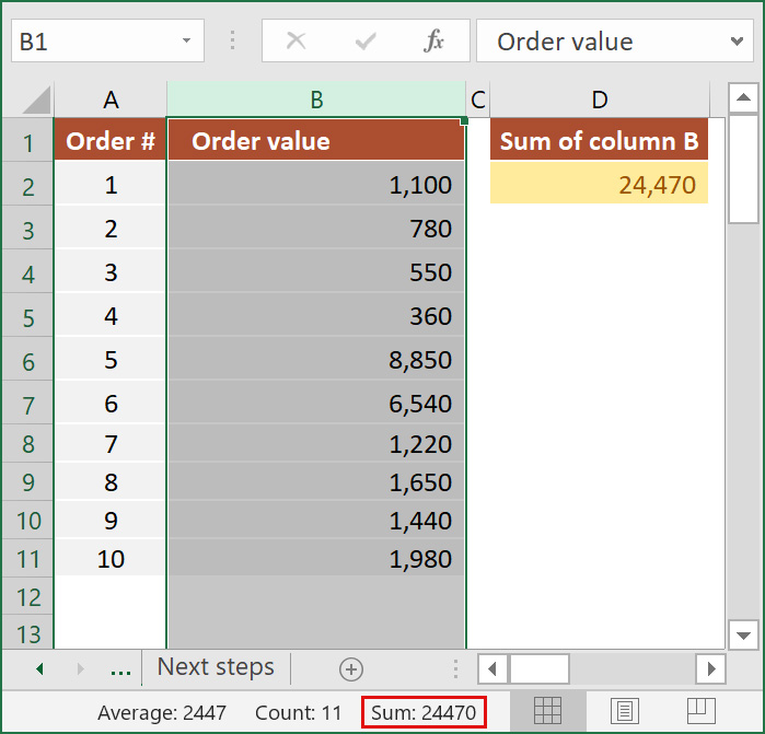 How to add an entire column in Excel