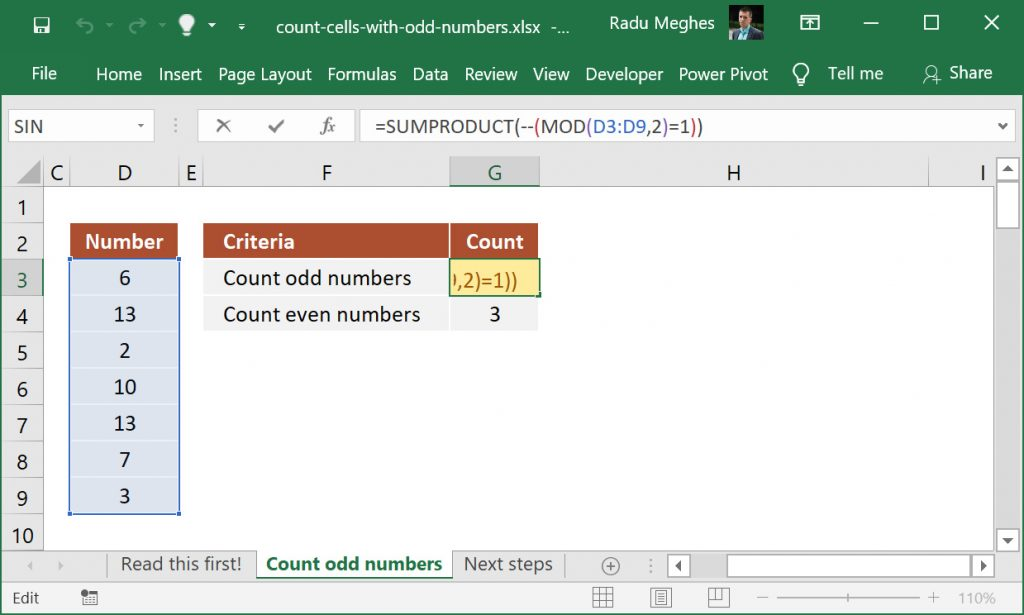Excel formula to count cells that contain odd numbers