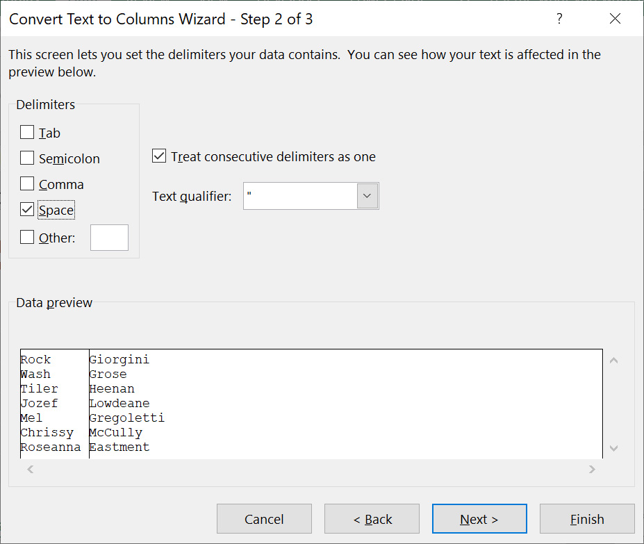 Select Space as delimiter and click Next