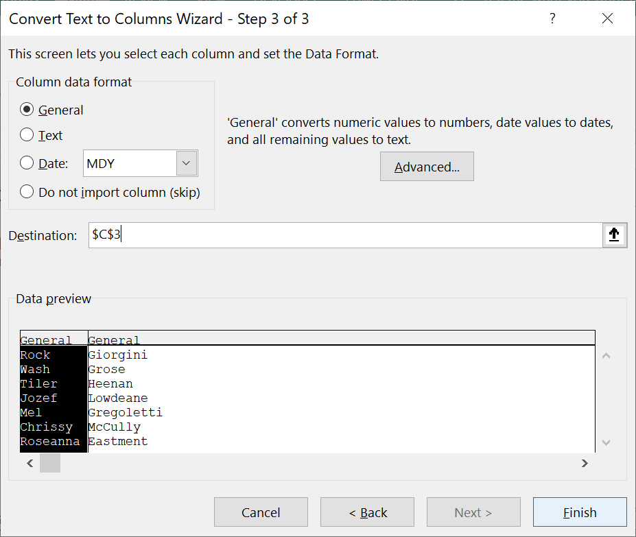 Select the Column data format and the Destination