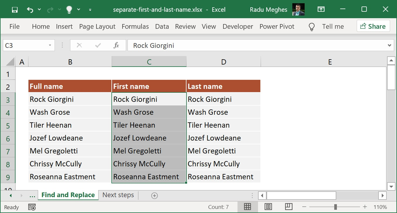 Select all data from the First name column.