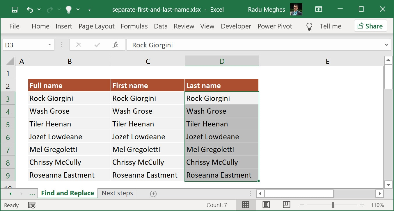 Select all data from the Last name column.